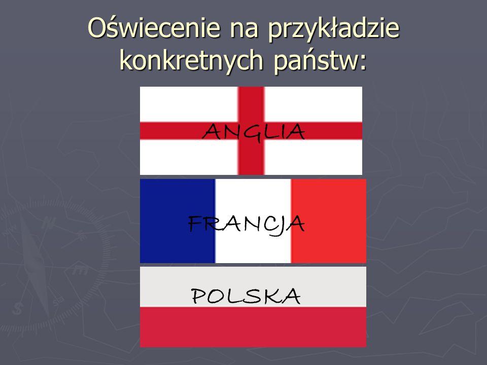 Oświecenie na przykładzie konkretnych państw: ANGLIA FRANCJA POLSKA