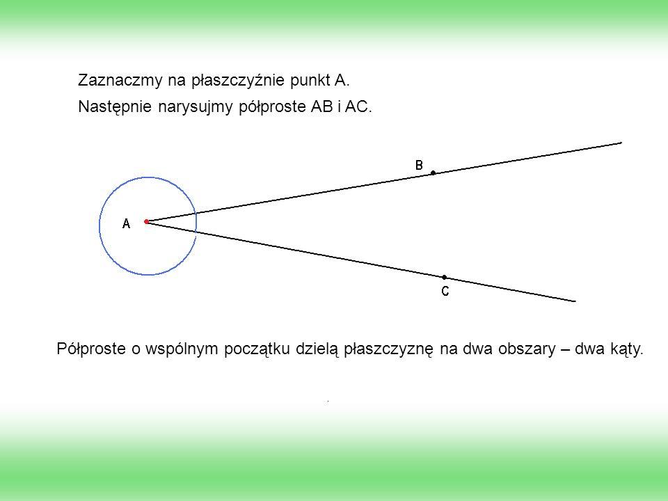 Zaznaczmy na płaszczyźnie punkt A. Następnie narysujmy półproste AB i AC. Półproste o wspólnym początku dzielą płaszczyznę na dwa obszary – dwa kąty.