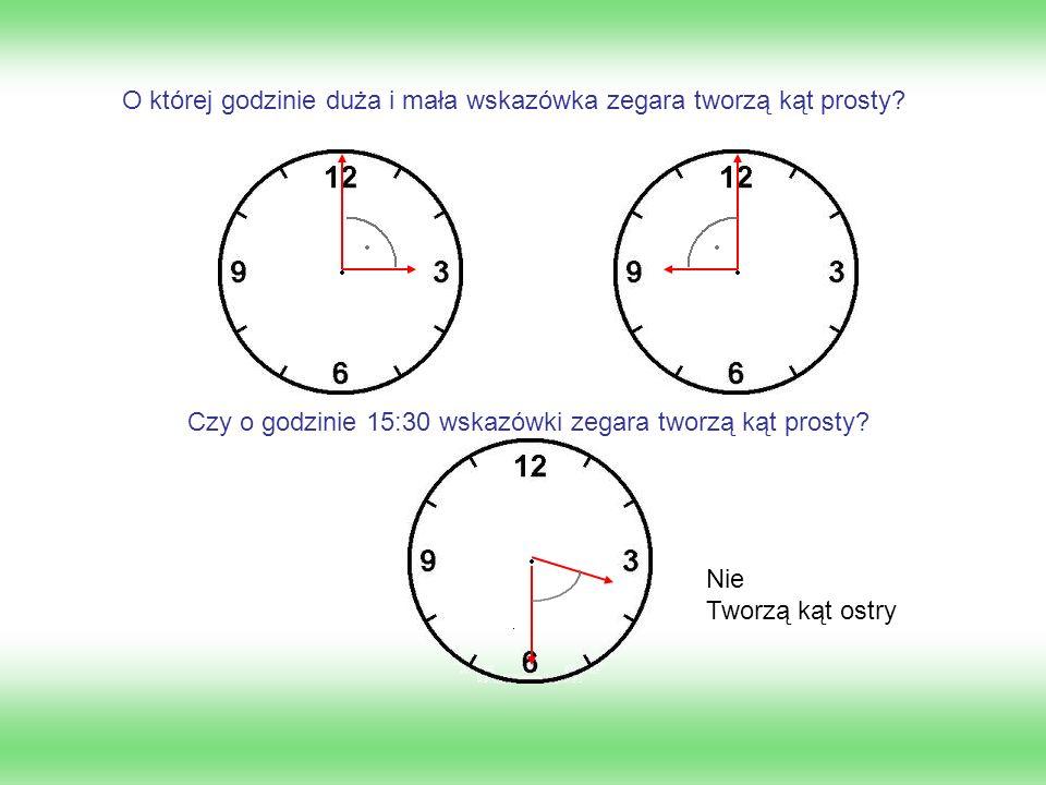 O której godzinie duża i mała wskazówka zegara tworzą kąt prosty? Czy o godzinie 15:30 wskazówki zegara tworzą kąt prosty? Nie Tworzą kąt ostry