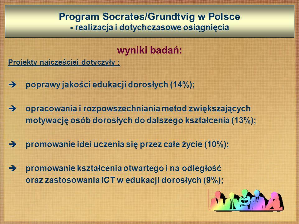 Program Socrates/Grundtvig w Polsce - realizacja i dotychczasowe osiągnięcia wyniki badań: Projekty najczęściej dotyczyły : poprawy jakości edukacji dorosłych (14%); opracowania i rozpowszechniania metod zwiększających motywację osób dorosłych do dalszego kształcenia (13%); promowanie idei uczenia się przez całe życie (10%); promowanie kształcenia otwartego i na odległość oraz zastosowania ICT w edukacji dorosłych (9%);