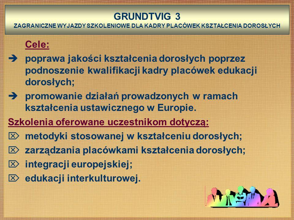 GRUNDTVIG 3 ZAGRANICZNE WYJAZDY SZKOLENIOWE DLA KADRY PLACÓWEK KSZTAŁCENIA DOROSŁYCH Cele: poprawa jakości kształcenia dorosłych poprzez podnoszenie kwalifikacji kadry placówek edukacji dorosłych; promowanie działań prowadzonych w ramach kształcenia ustawicznego w Europie.