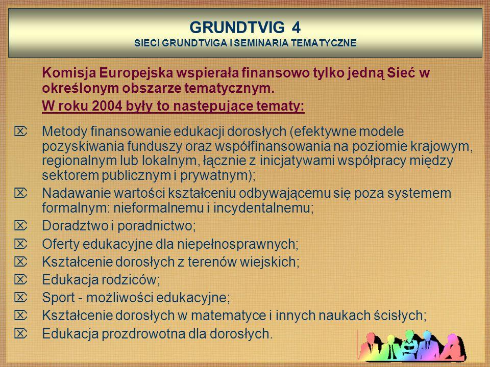 GRUNDTVIG 4 SIECI GRUNDTVIGA I SEMINARIA TEMATYCZNE Komisja Europejska wspierała finansowo tylko jedną Sieć w określonym obszarze tematycznym.