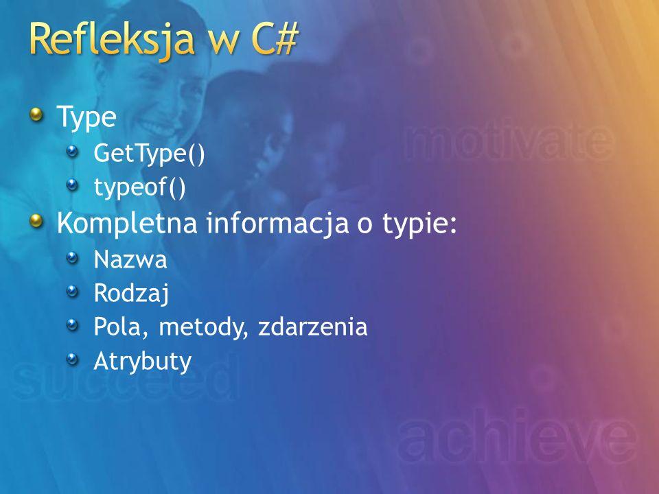 Type GetType() typeof() Kompletna informacja o typie: Nazwa Rodzaj Pola, metody, zdarzenia Atrybuty
