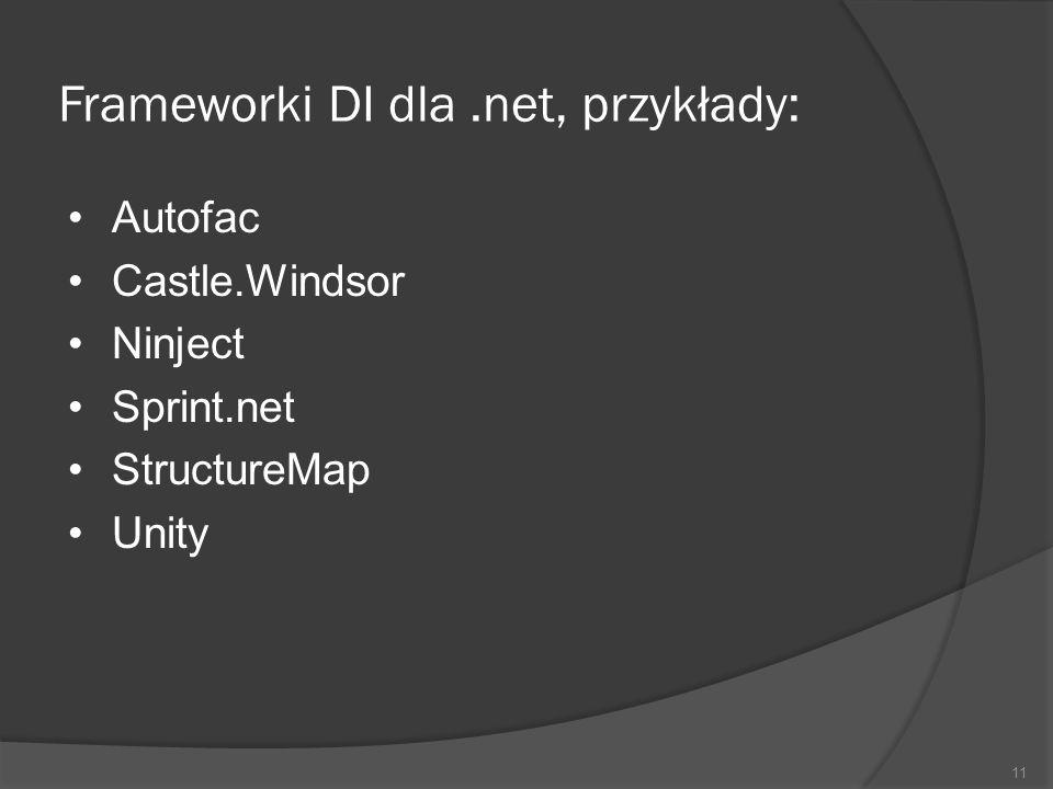 Frameworki DI dla.net, przykłady: Autofac Castle.Windsor Ninject Sprint.net StructureMap Unity 11