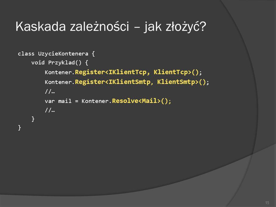 Kaskada zależności – jak złożyć? class UzycieKontenera { void Przyklad() { Kontener. Register () ; //… var mail = Kontener. Resolve () ; //… } 15