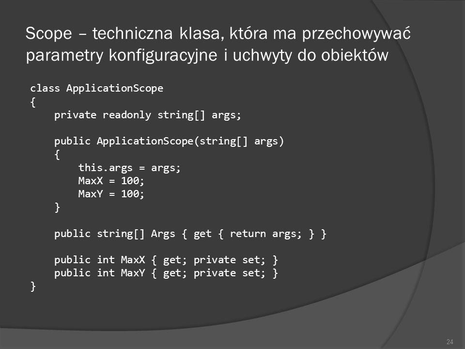 Scope – techniczna klasa, która ma przechowywać parametry konfiguracyjne i uchwyty do obiektów class ApplicationScope { private readonly string[] args