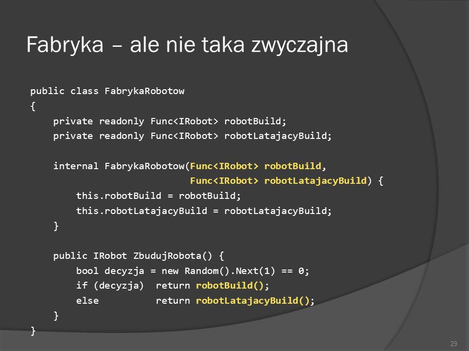 Fabryka – ale nie taka zwyczajna public class FabrykaRobotow { private readonly Func robotBuild; private readonly Func robotLatajacyBuild; internal Fa