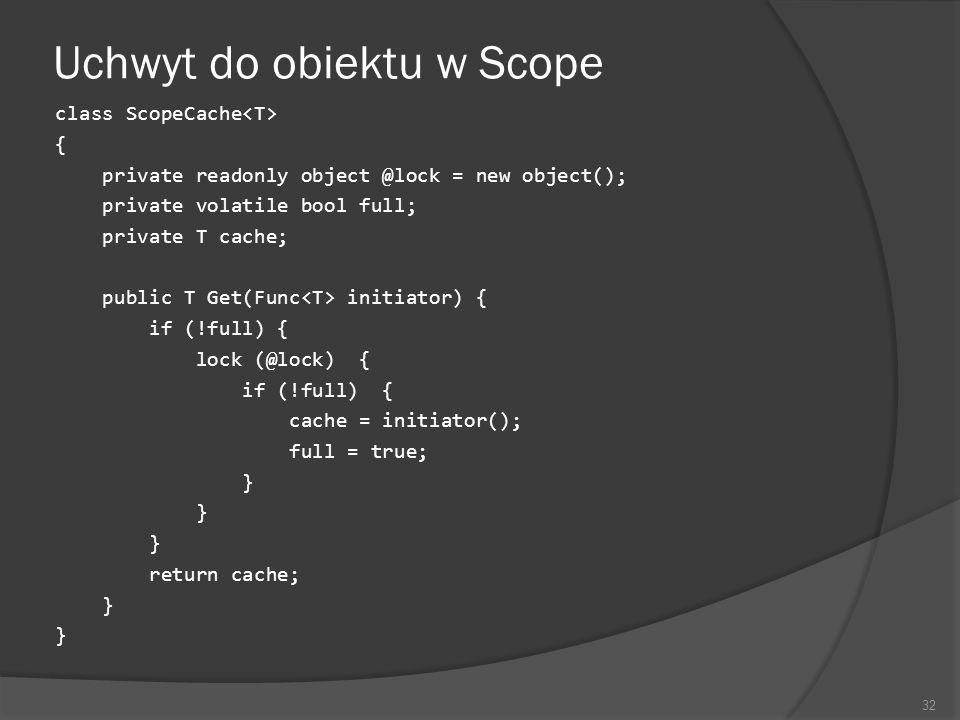 Uchwyt do obiektu w Scope class ScopeCache { private readonly object @lock = new object(); private volatile bool full; private T cache; public T Get(F
