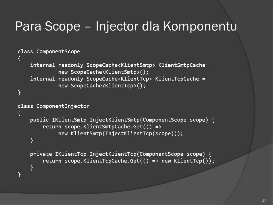 Para Scope – Injector dla Komponentu class ComponentScope { internal readonly ScopeCache KlientSmtpCache = new ScopeCache (); internal readonly ScopeC