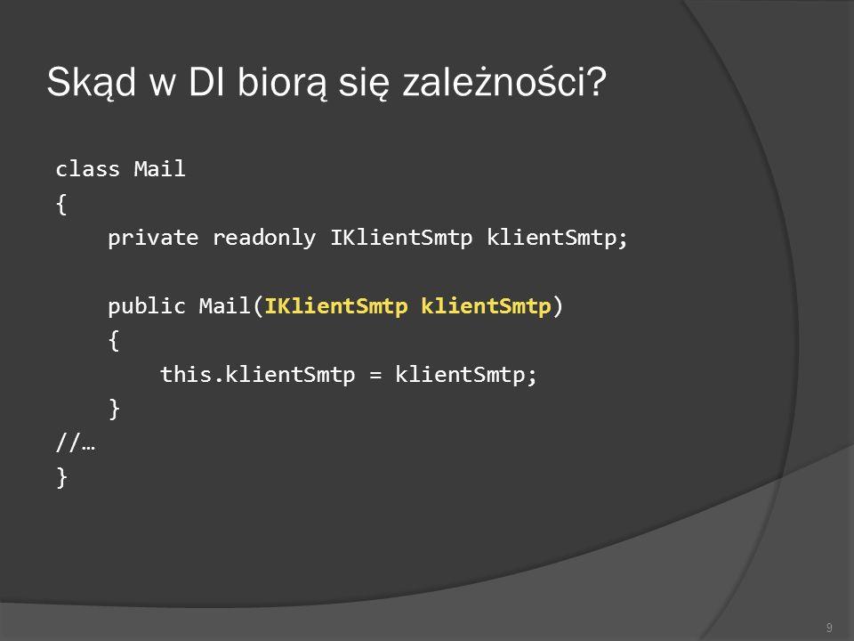 Skąd w DI biorą się zależności? class Mail { private readonly IKlientSmtp klientSmtp; public Mail(IKlientSmtp klientSmtp) { this.klientSmtp = klientSm