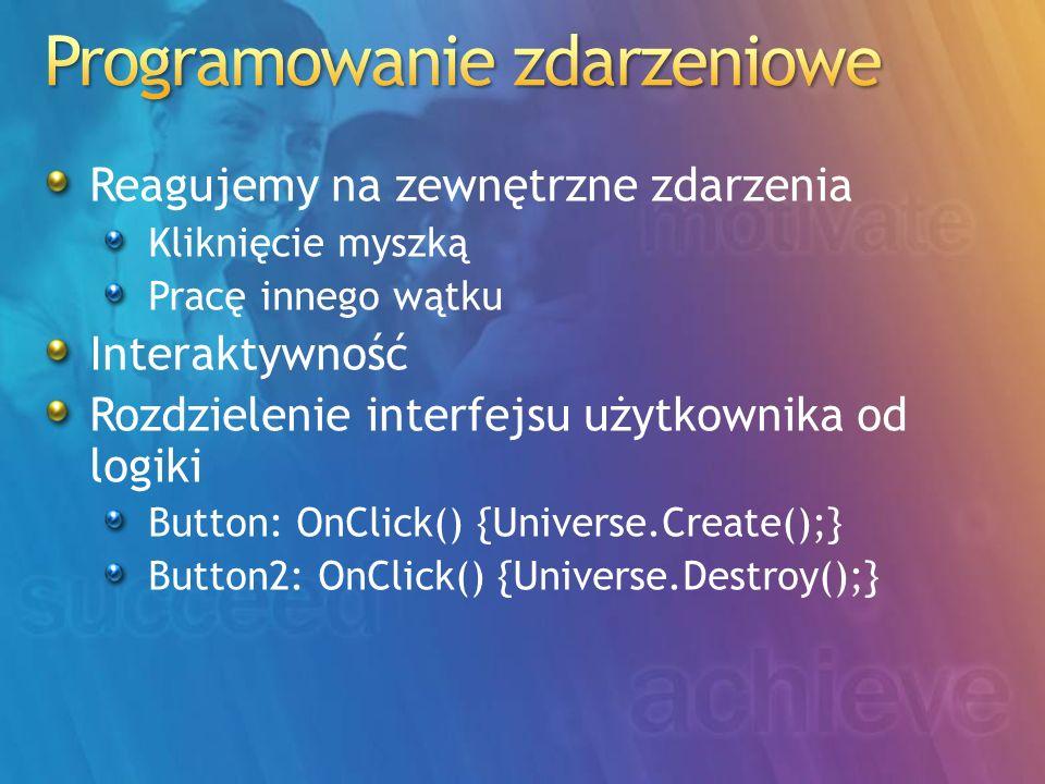 Reagujemy na zewnętrzne zdarzenia Kliknięcie myszką Pracę innego wątku Interaktywność Rozdzielenie interfejsu użytkownika od logiki Button: OnClick() {Universe.Create();} Button2: OnClick() {Universe.Destroy();}