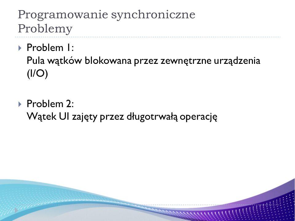 Programowanie synchroniczne Problemy Problem 1: Pula wątków blokowana przez zewnętrzne urządzenia (I/O) Problem 2: Wątek UI zajęty przez długotrwałą operację