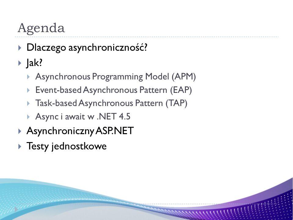 Agenda Dlaczego asynchroniczność? Jak? Asynchronous Programming Model (APM) Event-based Asynchronous Pattern (EAP) Task-based Asynchronous Pattern (TA