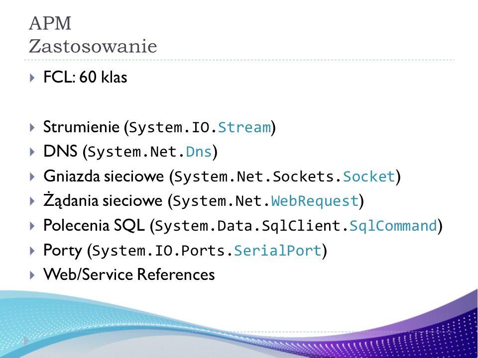 APM Zastosowanie FCL: 60 klas Strumienie ( System.IO.Stream ) DNS ( System.Net.Dns ) Gniazda sieciowe ( System.Net.Sockets.Socket ) Żądania sieciowe ( System.Net.WebRequest ) Polecenia SQL ( System.Data.SqlClient.SqlCommand ) Porty ( System.IO.Ports.SerialPort ) Web/Service References