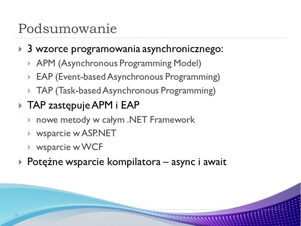 Podsumowanie 3 wzorce programowania asynchronicznego: APM (Asynchronous Programming Model) EAP (Event-based Asynchronous Programming) TAP (Task-based Asynchronous Programming) TAP zastępuje APM i EAP nowe metody w całym.NET Framework wsparcie w ASP.NET wsparcie w WCF Potężne wsparcie kompilatora – async i await