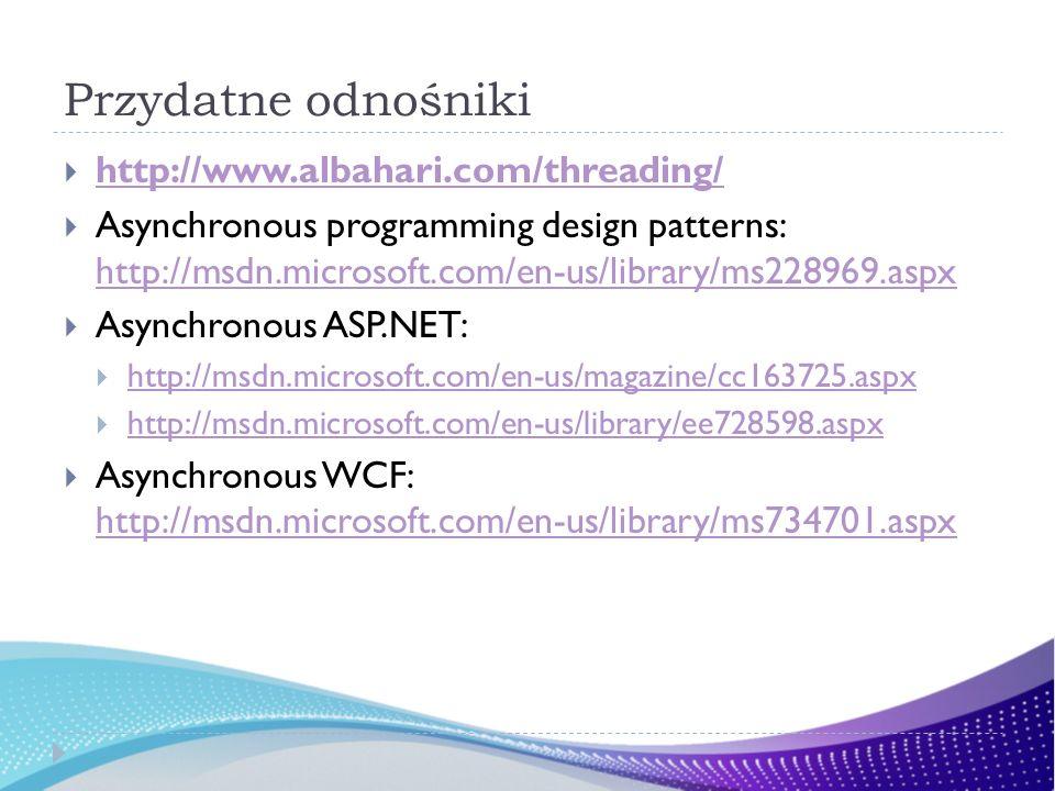 Przydatne odnośniki http://www.albahari.com/threading/ Asynchronous programming design patterns: http://msdn.microsoft.com/en-us/library/ms228969.aspx http://msdn.microsoft.com/en-us/library/ms228969.aspx Asynchronous ASP.NET: http://msdn.microsoft.com/en-us/magazine/cc163725.aspx http://msdn.microsoft.com/en-us/library/ee728598.aspx Asynchronous WCF: http://msdn.microsoft.com/en-us/library/ms734701.aspx http://msdn.microsoft.com/en-us/library/ms734701.aspx