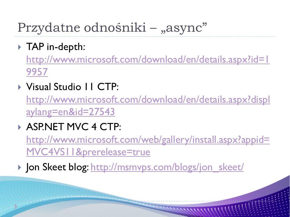 Przydatne odnośniki – async TAP in-depth: http://www.microsoft.com/download/en/details.aspx id=1 9957 http://www.microsoft.com/download/en/details.aspx id=1 9957 Visual Studio 11 CTP: http://www.microsoft.com/download/en/details.aspx displ aylang=en&id=27543 http://www.microsoft.com/download/en/details.aspx displ aylang=en&id=27543 ASP.NET MVC 4 CTP: http://www.microsoft.com/web/gallery/install.aspx appid= MVC4VS11&prerelease=true http://www.microsoft.com/web/gallery/install.aspx appid= MVC4VS11&prerelease=true Jon Skeet blog: http://msmvps.com/blogs/jon_skeet/http://msmvps.com/blogs/jon_skeet/