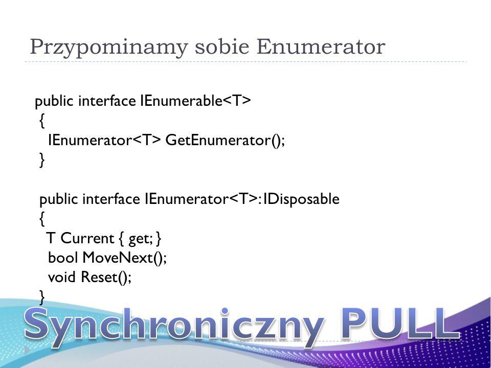 Przypominamy sobie Enumerator public interface IEnumerable { IEnumerator GetEnumerator(); } public interface IEnumerator : IDisposable { T Current { g