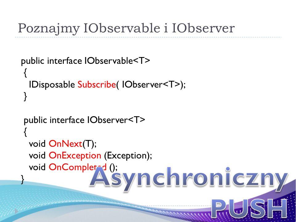 Poznajmy IObservable i IObserver public interface IObservable { IDisposable Subscribe( IObserver ); } public interface IObserver { void OnNext(T); voi