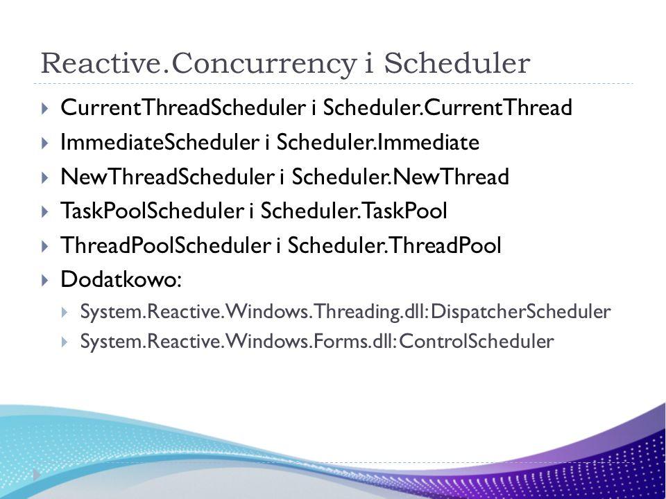 Reactive.Concurrency i Scheduler CurrentThreadScheduler i Scheduler.CurrentThread ImmediateScheduler i Scheduler.Immediate NewThreadScheduler i Schedu