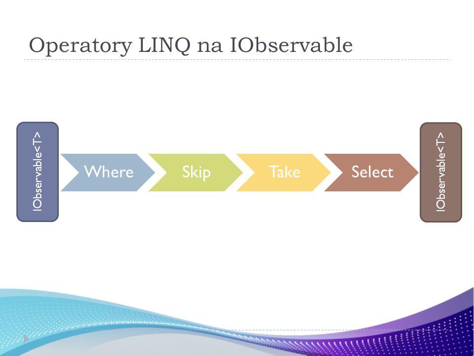 Operatory LINQ na IObservable WhereSkipTakeSelect IObservable