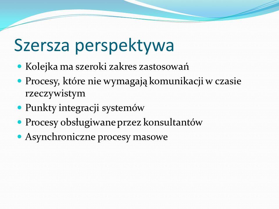 Szersza perspektywa Kolejka ma szeroki zakres zastosowań Procesy, które nie wymagają komunikacji w czasie rzeczywistym Punkty integracji systemów Proc