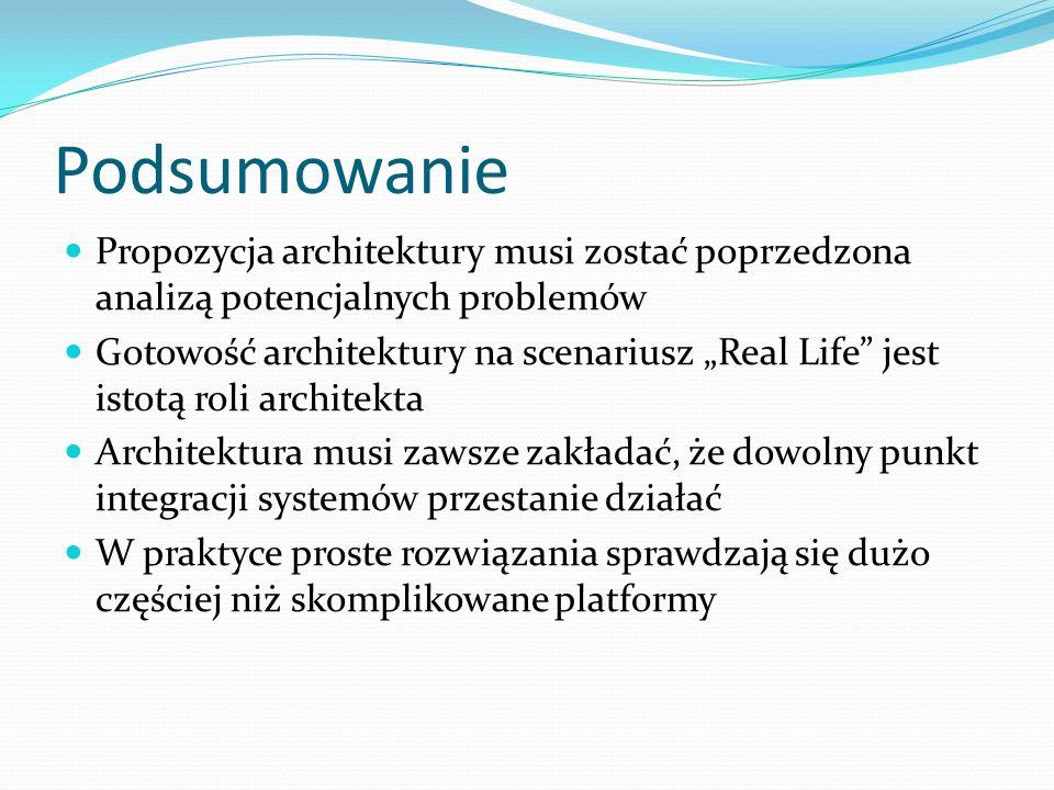 Podsumowanie Propozycja architektury musi zostać poprzedzona analizą potencjalnych problemów Gotowość architektury na scenariusz Real Life jest istotą