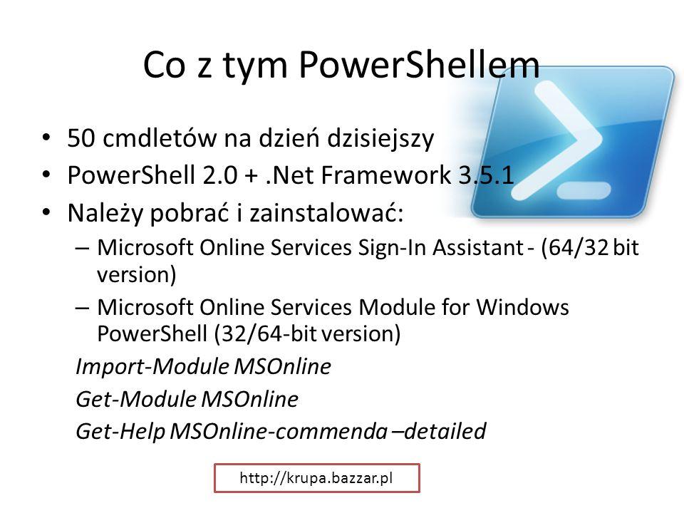 Co z tym PowerShellem 50 cmdletów na dzień dzisiejszy PowerShell 2.0 +.Net Framework 3.5.1 Należy pobrać i zainstalować: – Microsoft Online Services S