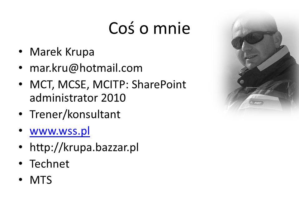 Coś o mnie Marek Krupa mar.kru@hotmail.com MCT, MCSE, MCITP: SharePoint administrator 2010 Trener/konsultant www.wss.pl http://krupa.bazzar.pl Technet