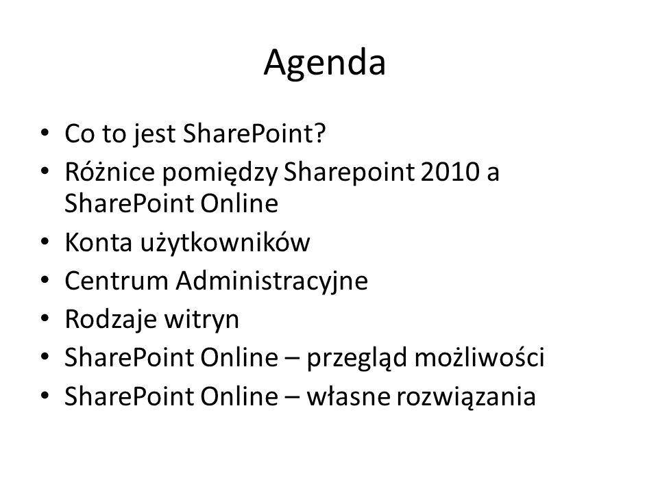 Agenda Co to jest SharePoint? Różnice pomiędzy Sharepoint 2010 a SharePoint Online Konta użytkowników Centrum Administracyjne Rodzaje witryn SharePoin