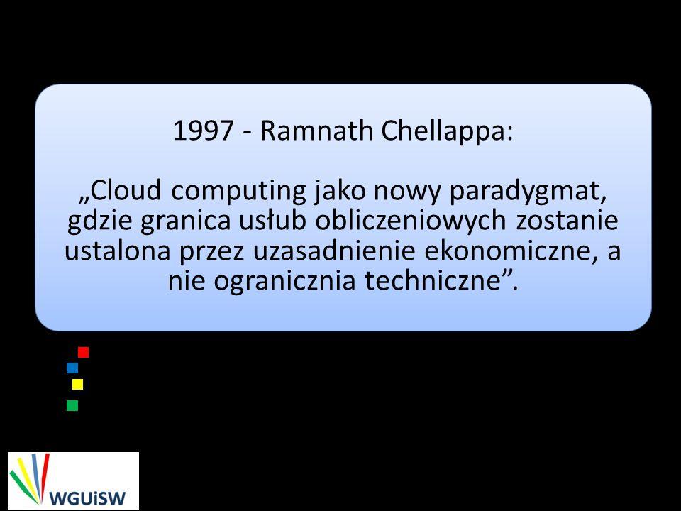 1997 - Ramnath Chellappa: Cloud computing jako nowy paradygmat, gdzie granica usłub obliczeniowych zostanie ustalona przez uzasadnienie ekonomiczne, a