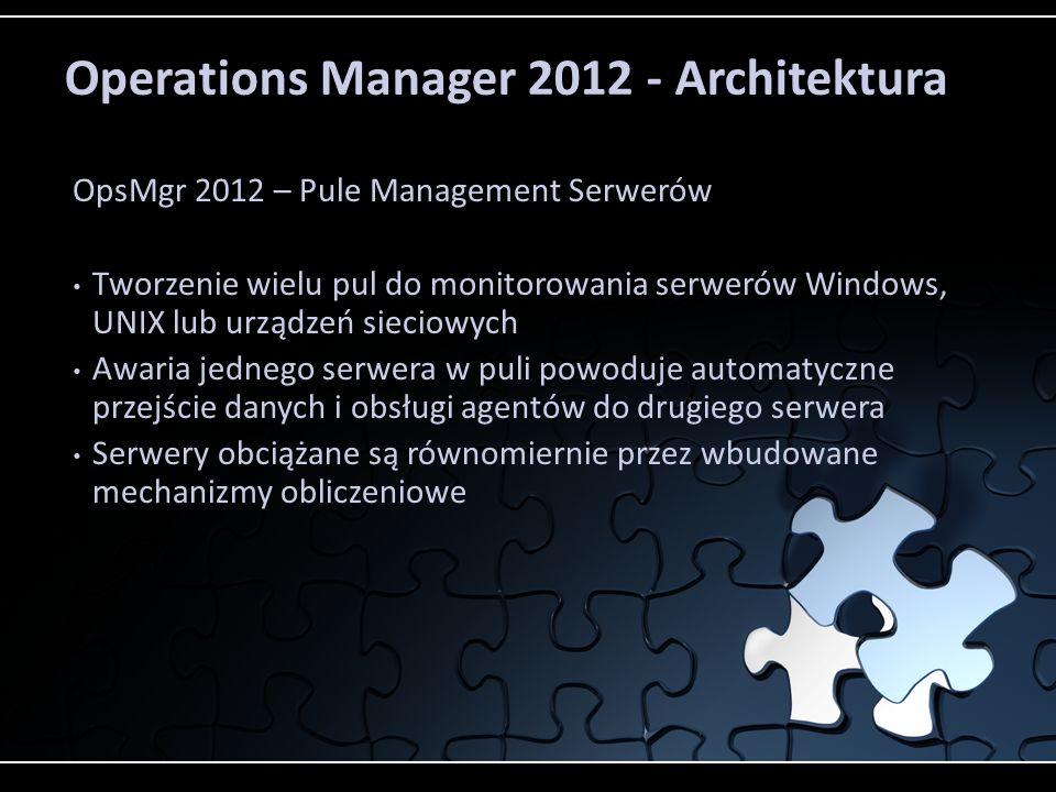 Operations Manager 2012 - Architektura OpsMgr 2012 – Pule Management Serwerów Tworzenie wielu pul do monitorowania serwerów Windows, UNIX lub urządzeń sieciowych Awaria jednego serwera w puli powoduje automatyczne przejście danych i obsługi agentów do drugiego serwera Serwery obciążane są równomiernie przez wbudowane mechanizmy obliczeniowe