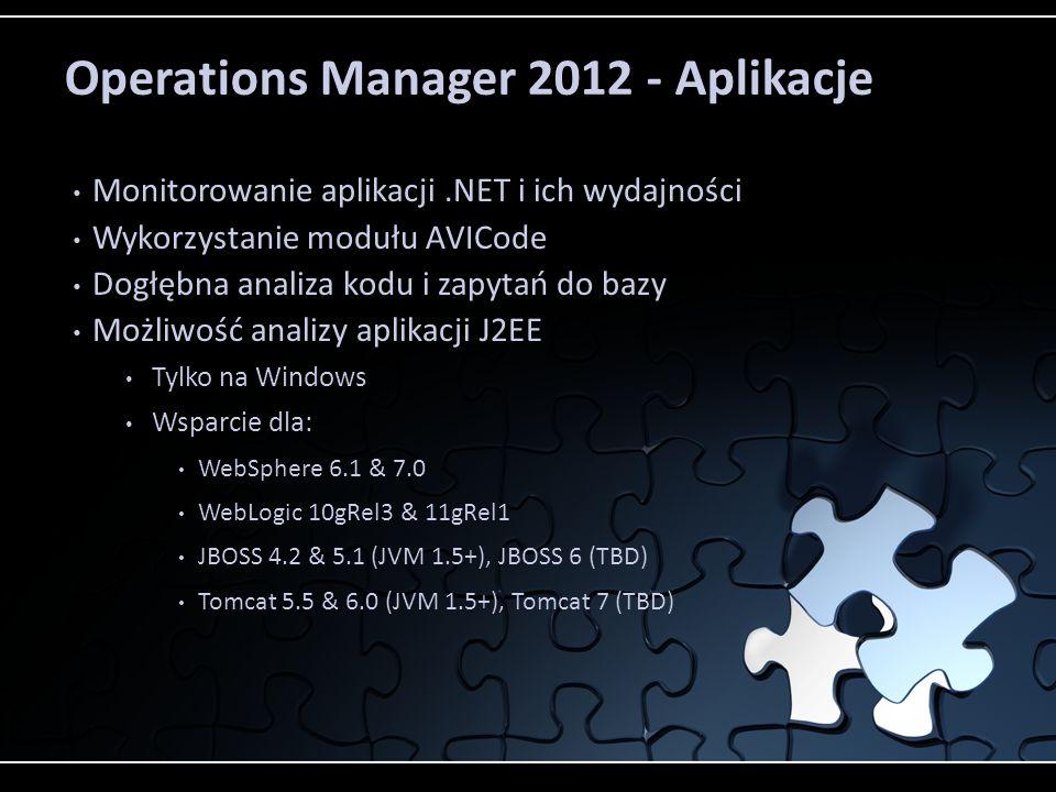 Operations Manager 2012 - Aplikacje Monitorowanie aplikacji.NET i ich wydajności Wykorzystanie modułu AVICode Dogłębna analiza kodu i zapytań do bazy Możliwość analizy aplikacji J2EE Tylko na Windows Wsparcie dla: WebSphere 6.1 & 7.0 WebLogic 10gRel3 & 11gRel1 JBOSS 4.2 & 5.1 (JVM 1.5+), JBOSS 6 (TBD) Tomcat 5.5 & 6.0 (JVM 1.5+), Tomcat 7 (TBD)