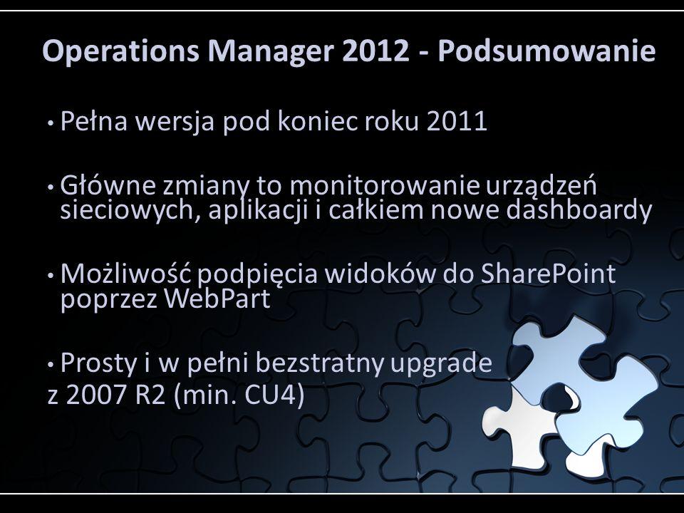Operations Manager 2012 - Podsumowanie Pełna wersja pod koniec roku 2011 Główne zmiany to monitorowanie urządzeń sieciowych, aplikacji i całkiem nowe dashboardy Możliwość podpięcia widoków do SharePoint poprzez WebPart Prosty i w pełni bezstratny upgrade z 2007 R2 (min.