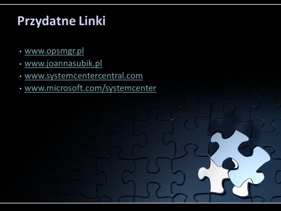 Przydatne Linki www.opsmgr.pl www.joannasubik.pl www.systemcentercentral.com www.microsoft.com/systemcenter