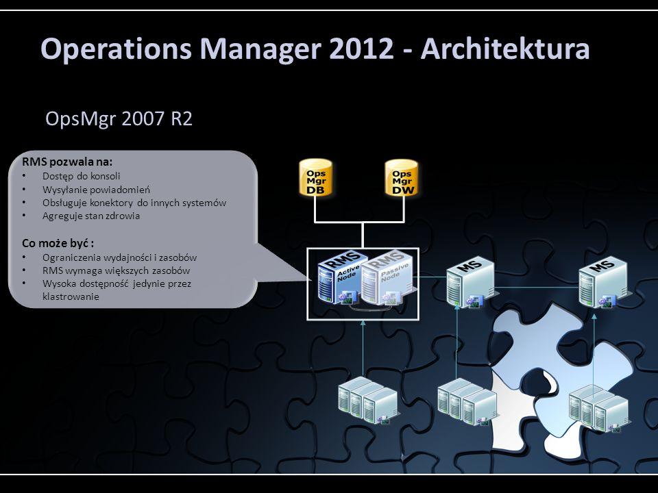 Operations Manager 2012 - Architektura OpsMgr 2007 R2 RMS pozwala na: Dostęp do konsoli Wysyłanie powiadomień Obsługuje konektory do innych systemów Agreguje stan zdrowia Co może być : Ograniczenia wydajności i zasobów RMS wymaga większych zasobów Wysoka dostępność jedynie przez klastrowanie RMS pozwala na: Dostęp do konsoli Wysyłanie powiadomień Obsługuje konektory do innych systemów Agreguje stan zdrowia Co może być : Ograniczenia wydajności i zasobów RMS wymaga większych zasobów Wysoka dostępność jedynie przez klastrowanie