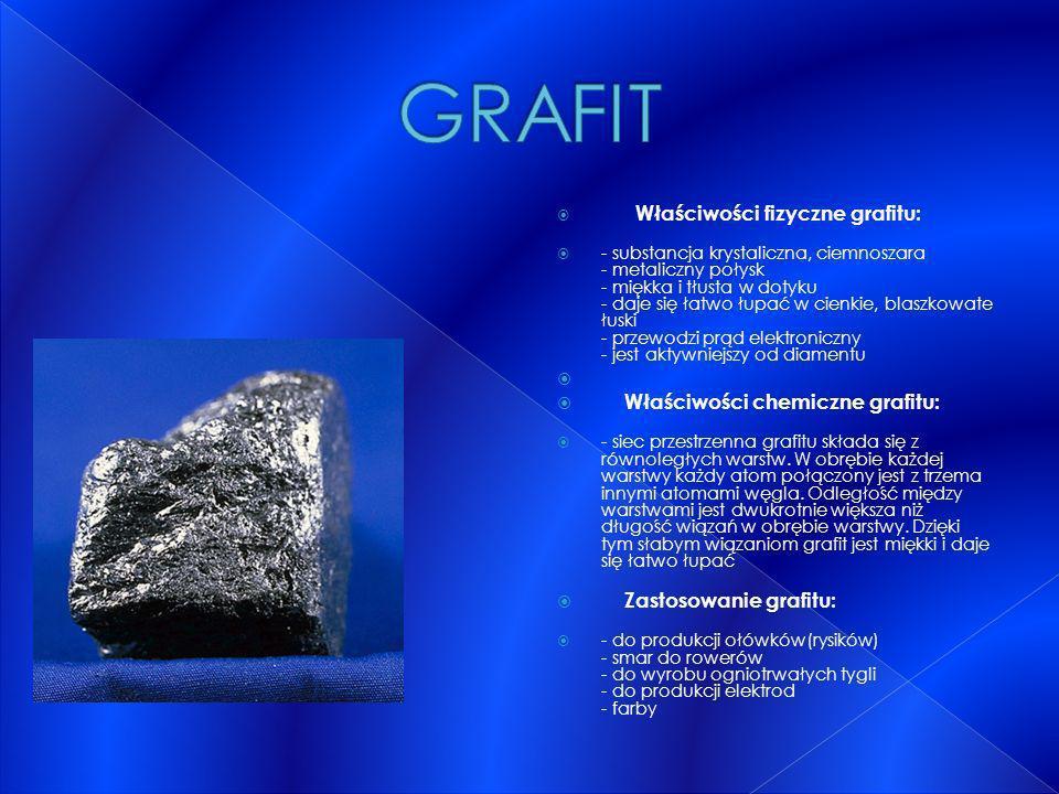Właściwości fizyczne grafitu: - substancja krystaliczna, ciemnoszara - metaliczny połysk - miękka i tłusta w dotyku - daje się łatwo łupać w cienkie,