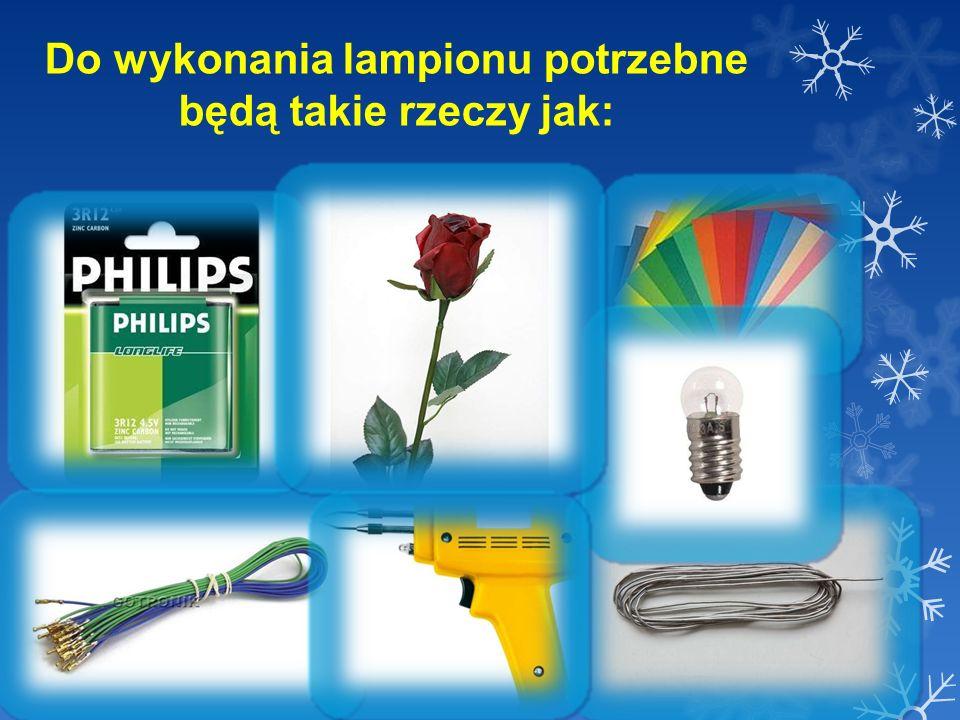 Etapy wykonania lampionu: 1.Należy okleić baterię papierem kolorowym.