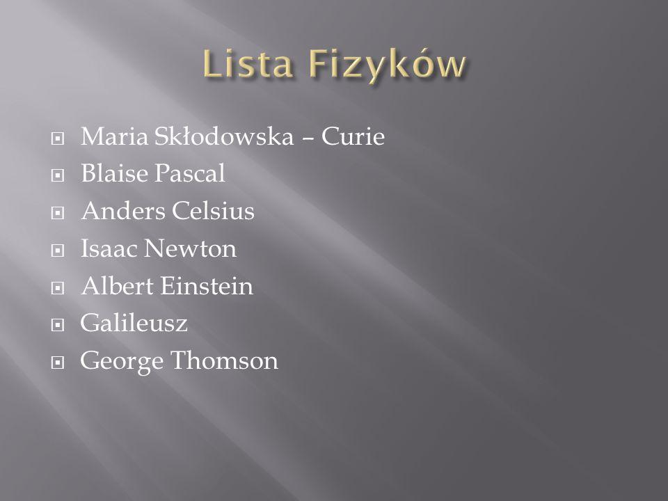 Maria Skłodowska – Curie Blaise Pascal Anders Celsius Isaac Newton Albert Einstein Galileusz George Thomson