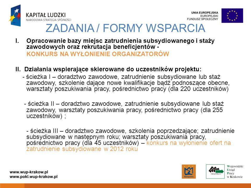 ZADANIA / FORMY WSPARCIA I.Opracowanie bazy miejsc zatrudnienia subsydiowanego i staży zawodowych oraz rekrutacja beneficjentów - KONKURS NA WYŁONIENIE ORGANIZATORÓW II.
