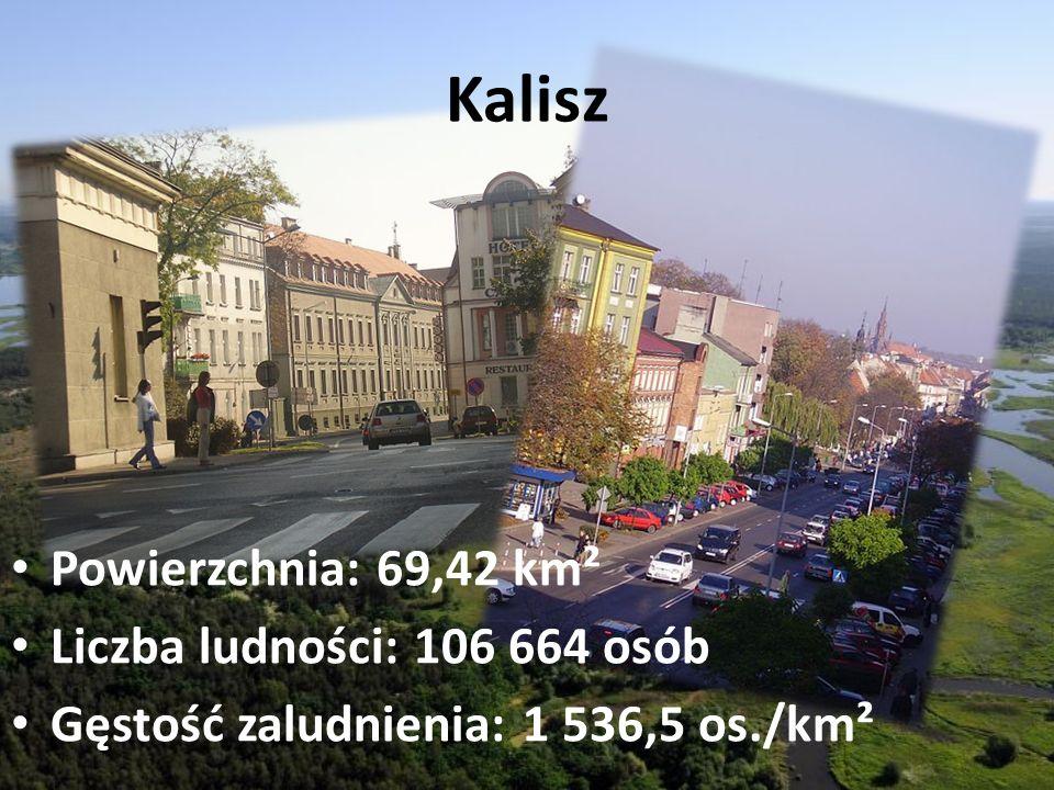 Kalisz Powierzchnia: 69,42 km² Liczba ludności: 106 664 osób Gęstość zaludnienia: 1 536,5 os./km²