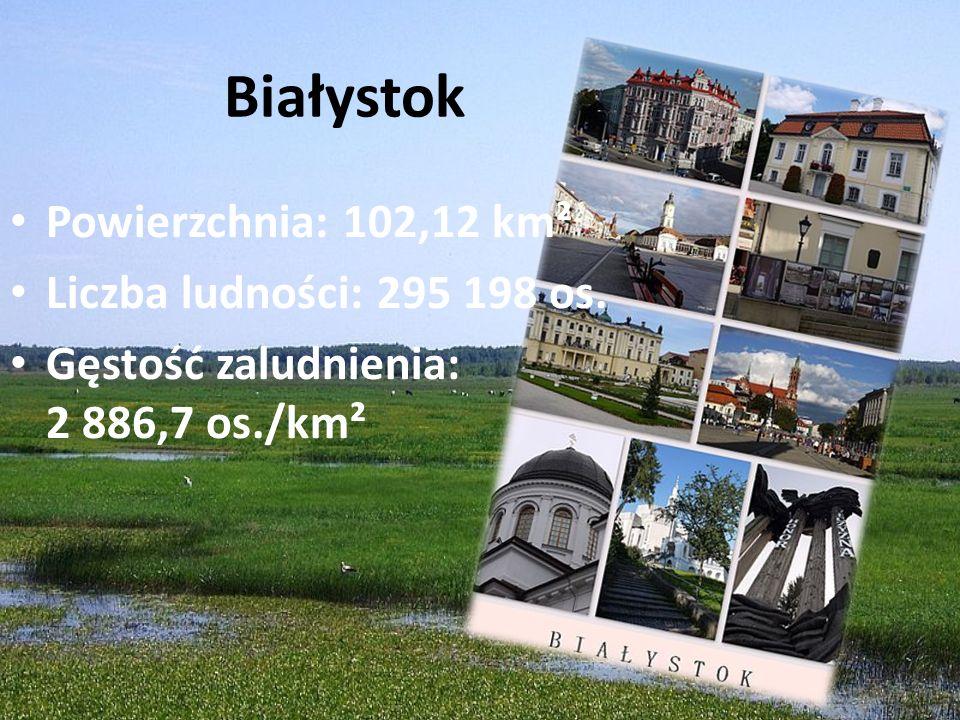 Białystok Powierzchnia: 102,12 km² Liczba ludności: 295 198 os. Gęstość zaludnienia: 2 886,7 os./km²