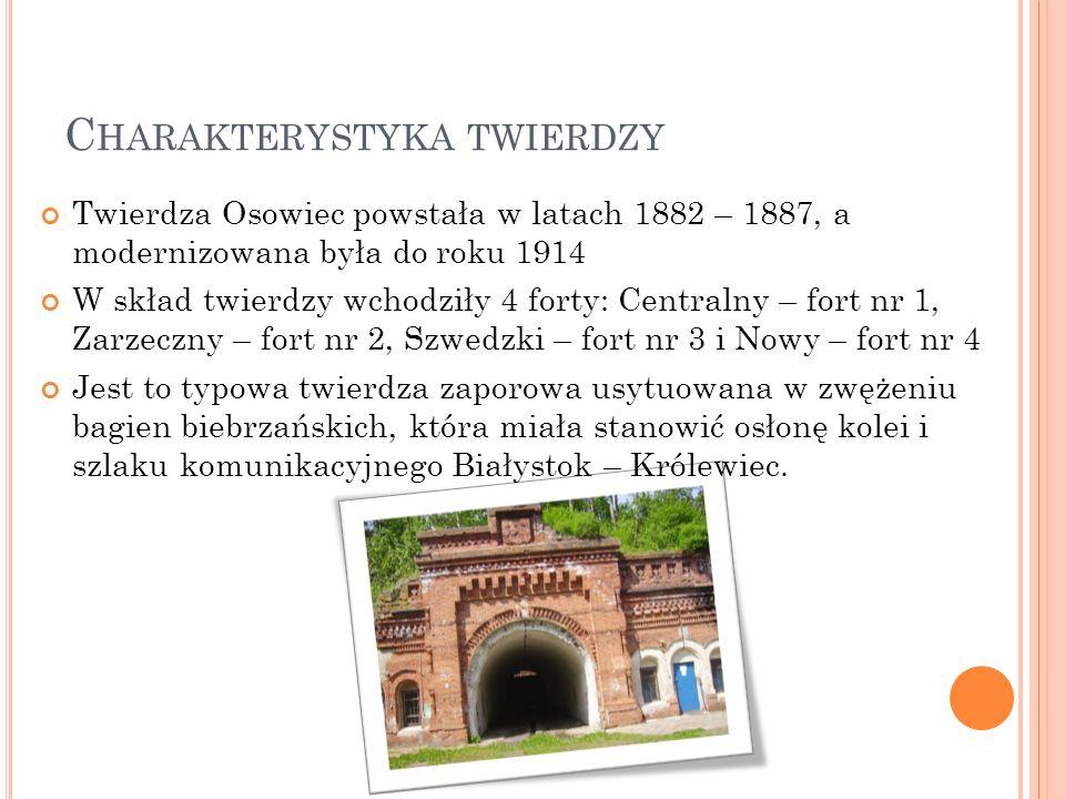 C HARAKTERYSTYKA TWIERDZY Twierdza Osowiec powstała w latach 1882 – 1887, a modernizowana była do roku 1914 W skład twierdzy wchodziły 4 forty: Centra