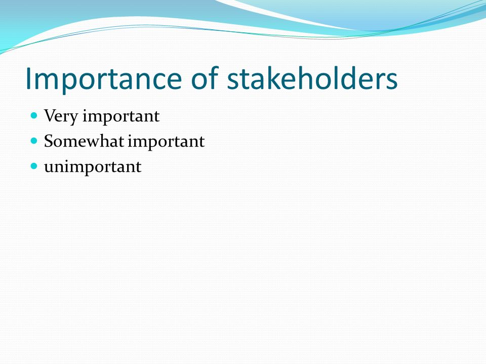 Importance of stakeholders Very important Somewhat important unimportant
