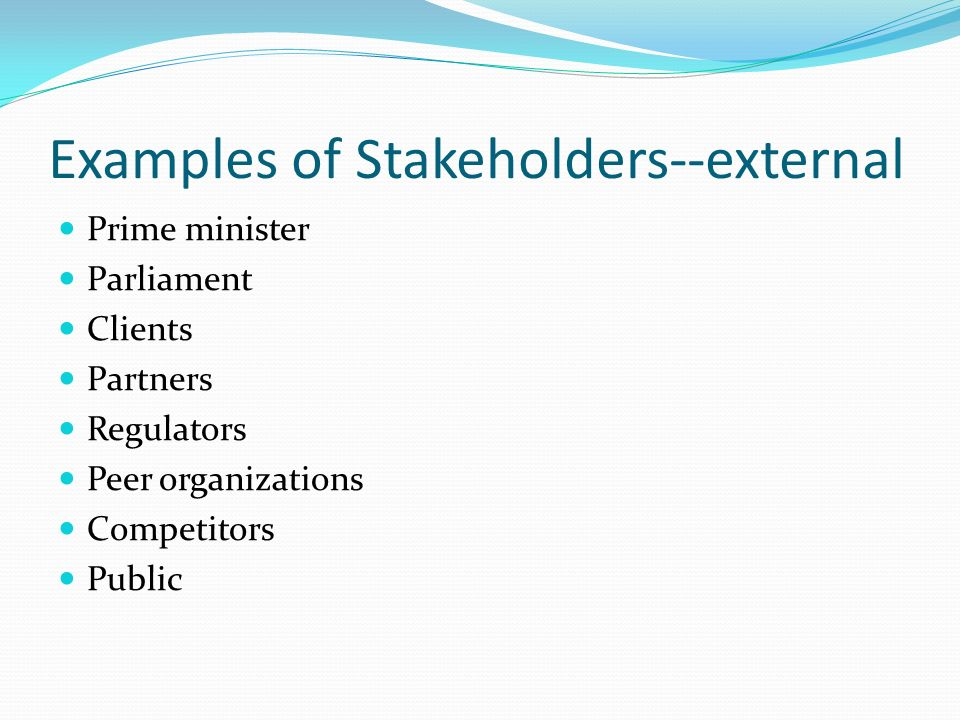 Examples of Stakeholders--external Prime minister Parliament Clients Partners Regulators Peer organizations Competitors Public