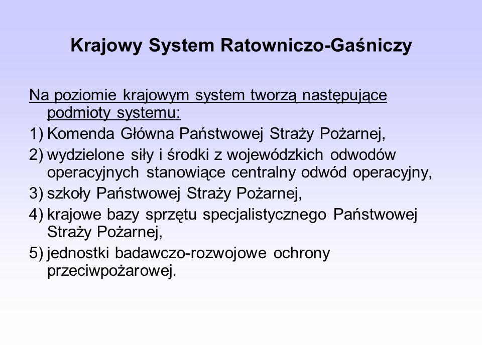 Krajowy System Ratowniczo-Gaśniczy Na poziomie krajowym system tworzą następujące podmioty systemu: 1)Komenda Główna Państwowej Straży Pożarnej, 2)wyd