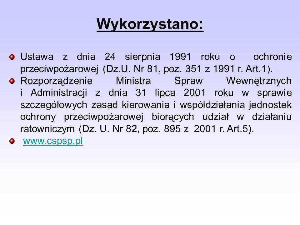 Wykorzystano: Ustawa z dnia 24 sierpnia 1991 roku o ochronie przeciwpożarowej (Dz.U.