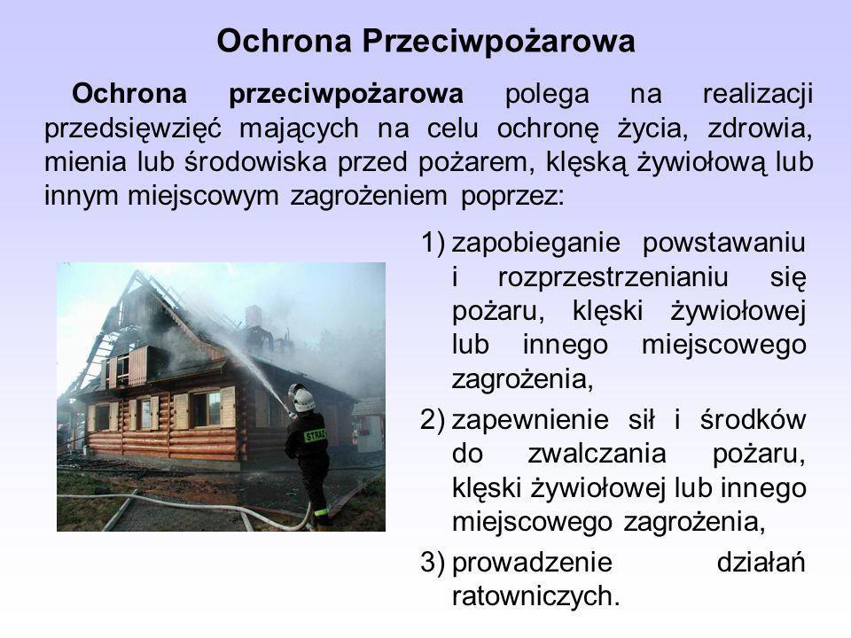Ochrona Przeciwpożarowa Ochrona przeciwpożarowa polega na realizacji przedsięwzięć mających na celu ochronę życia, zdrowia, mienia lub środowiska przed pożarem, klęską żywiołową lub innym miejscowym zagrożeniem poprzez: 1)zapobieganie powstawaniu i rozprzestrzenianiu się pożaru, klęski żywiołowej lub innego miejscowego zagrożenia, 2)zapewnienie sił i środków do zwalczania pożaru, klęski żywiołowej lub innego miejscowego zagrożenia, 3)prowadzenie działań ratowniczych.