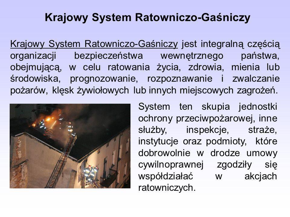 Krajowy System Ratowniczo-Gaśniczy Krajowy System Ratowniczo-Gaśniczy jest integralną częścią organizacji bezpieczeństwa wewnętrznego państwa, obejmującą, w celu ratowania życia, zdrowia, mienia lub środowiska, prognozowanie, rozpoznawanie i zwalczanie pożarów, klęsk żywiołowych lub innych miejscowych zagrożeń.
