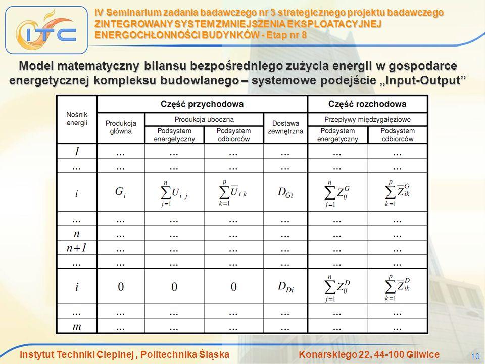 Instytut Techniki Cieplnej, Politechnika Śląska Konarskiego 22, 44-100 Gliwice 10 IV Seminarium zadania badawczego nr 3 strategicznego projektu badawc